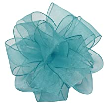 Offray Wired Edge Encore Sheer Craft Ribbon, 2-1/2-Inch Wide by 25-Yard Spool, Turquoise