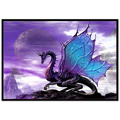 aliveGOT Dragon DIY 5D Diamond Painting by Number Kits, Crystal Rhinestone Embroidery Paint with Diamonds, Full Drill Canvas Art Picture