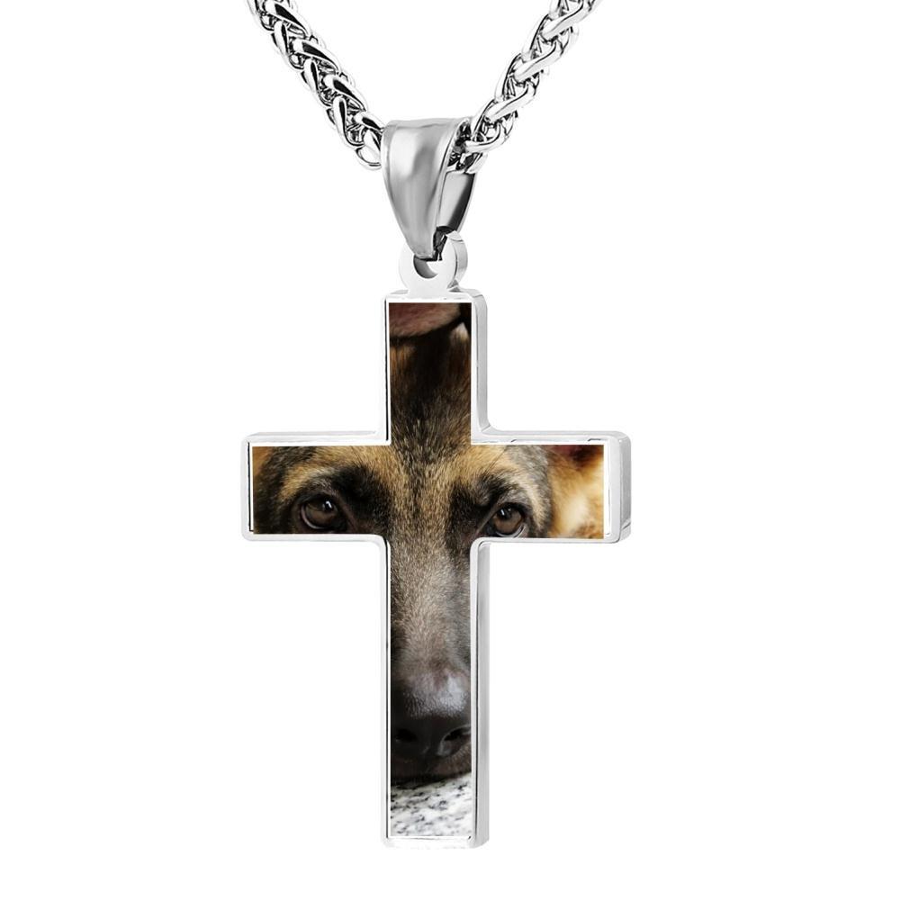 Kenlove87 Patriotic Cross German Shepherd Religious Lord'S Zinc Jewelry Pendant Necklace