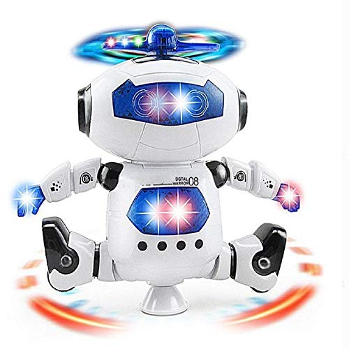 (Toytykes Electronic Walking Dancing Robot Toy | Comes with Music and Light | 360° Body Spinning | Boost Hand to Eye Coordination of Your Child | Best Gift for Kids)