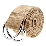 Ayliss Fashion Double D-Ring Solid Color Knit Canvas Web Belt Waistband (One Size, Khaki)