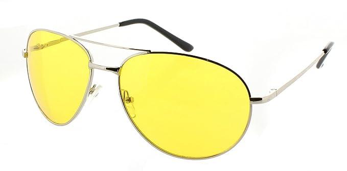 0e99e8d547d3 Fiore HD Night Driving Sunglasses Aviator Sport Wrap Glasses Spring Hinge ( Aviator - Silver Frame
