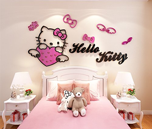 Hello Kitty Room Accessories - YOURNELO Kid's Decorative Cute Cartoon Hellokitty Livingroom Waterproof PMMA 3D Stereo Wall Sticker Peel & Stick Wall Art (A-Rose red, Large)