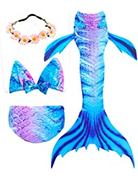3 Pcs Girls Swimsuit Mermaid Tails for Swimming Princess Bikini Bathing Suit Set Can Add Monofin for 3-12Y