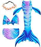 Garlagy 3 Pcs Girls Swimsuit Mermaid Tails for Swimming Princess Bikini Bathing Suit Set Can Add Monofin for 3-12Y (Height 55-60in(10-12Y), A-Crystal Blue)