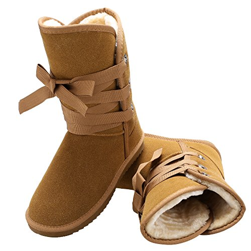 Zeagoo Winter Faux Fur Snow Boot Women Ankle Buckle Biker Boots Shoes (US 9, Camel.) ()