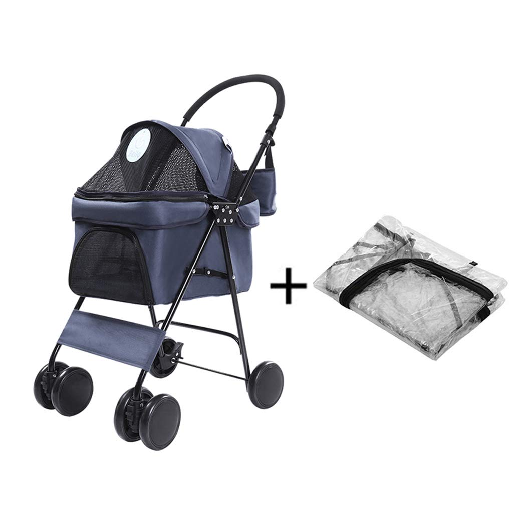 bluee1 B bluee1 B Pet Cart, Large Portable Foldable Help Dog Cat Trolley, Rain Cover, Baby Cage Cart, Four Rounds Shockproof Pet Travel Outdoor Travel Cart, Bearing Weight 12.5kg