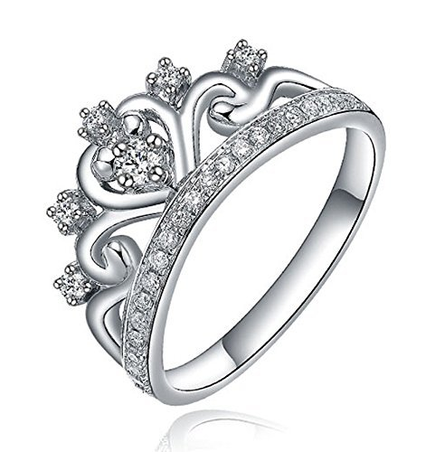 unique princess crown half carat diamond engagement ring in white gold amazoncom - Crown Wedding Ring