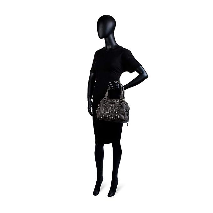 Doublure Imprimée et Poche Intérieure Lois Cuir Synthétique 94631 Sac pour Femme de Style Bowling avec Bandoulière Réglable et Anse Double Fermeture Éclair Color Gris