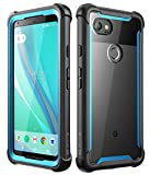 i-Blason Case for Google Pixel 2 XL 2017 Release, [Ares] Full-Body Rugged Clear Bumper Case with Built-in Screen Protector(Black/Blue)