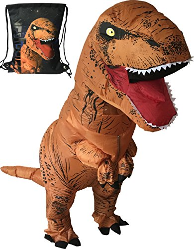 LuckySun Adult T-Rex Dinosaur Inflatable Costume With Exclusive Drawstring Bag (Costume For Adult)