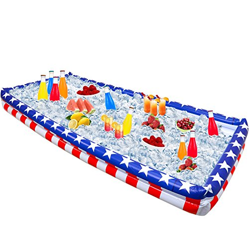 Outdoor Inflatable Buffet Cooler Server - Patriotic Red White and Blue Blow Up Cooling Tub For Serving Buffet Style Picnic -