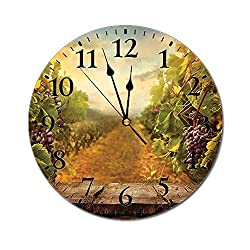 Yeeboo Modern 3D Print Round Wall Clock,Vineyard Grapes Natural Rustic Vinatage Scenery Orchads Wine Home Kitchenware Cafe 10 Inch Battery Operated Quartz Analog Quiet Desk Clock,Green Brown Blue