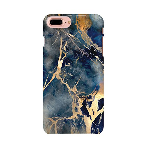Deep Blue Grey Marble Stone Pattern Iphone 7 Plus Case, Custom Iphone 7Plus 5.5Inch - Grey Blue Marble