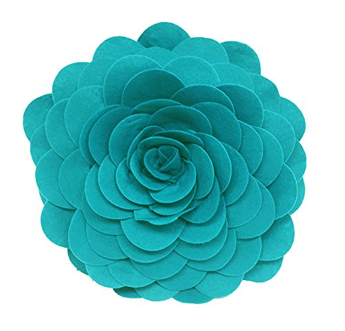 Eva's Flower Garden Decorative Throw Pillow. 13 Inch Round. (Teal, One Size) (Teal Decorative Throw Pillows)
