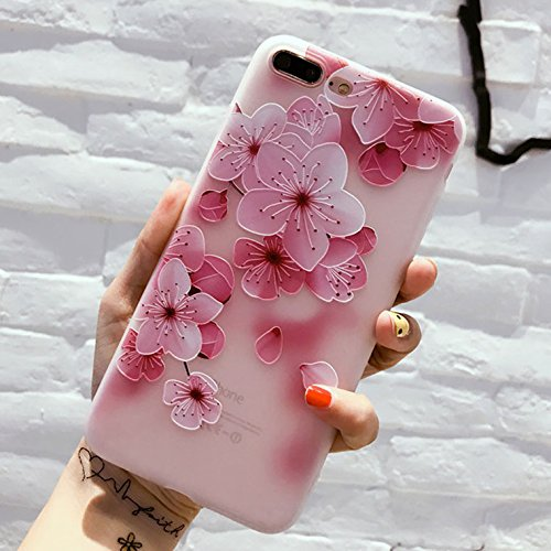 GOOGEE Fitted Cases - Flower Silicon Phone Case for iPhone 7 8 Plus Xs Max Xr Rose Floral Cases for iPhone X 8 7 6 6s Plus 5 Soft TPU Cover - for iPhone 8 Plus_5619 - Head to Clip Cable Orchid Z Mm