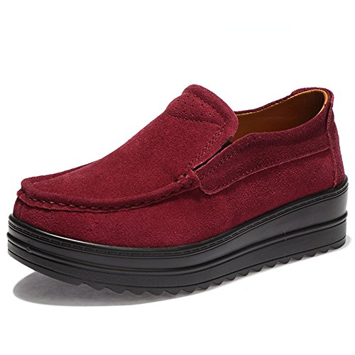 HKR-HC-329jiuhong37 Moccasins Women Slip on Suede Platform Loafers Wide Width Comfortable Work Shoes Wine Red 6.5 B(M) US (Moccasin Heels)