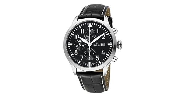 Kronos - Pilot Automatic Chronograph Black 991.55 - Reloj de caballero automático, correa de piel negra, color esfera: negra: Amazon.es: Relojes
