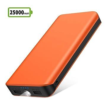 Bateria Externa para Movil, Power Bank 25000mAh Cargador Portátil con 2 Puertos USB Alta Velocidad Cargado y Linterna LED de 4 Modos para IPhone X 8 7 ...