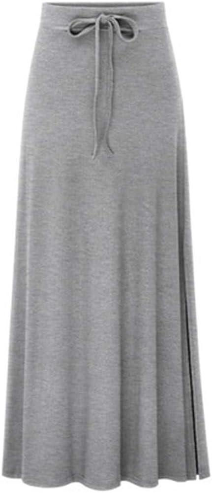 TUDUZ Mujer Faldas Largas Verano Enaguas Cintura Elástica Alta Adelgazante Apretado Color Sólido Falda Casual (Gris, M): Amazon.es: Ropa y accesorios