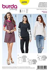 Burda Ladies Easy Sewing Pattern 6591 Contrast Fabrics Tops & Dress