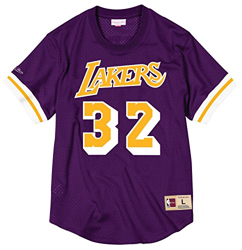bc6d3e0a1ab Magic Johnson Los Angeles Lakers Mitchell & Ness NBA Men's Mesh Jersey Shirt