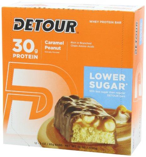 Detour Lower Sugar Nutrition Bars, Caramel Peanut, 85 Gram (Pack of 12)