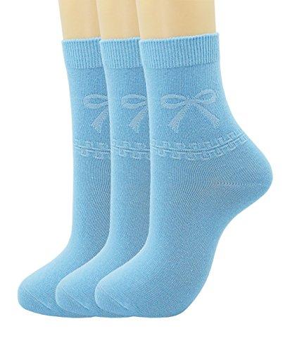 Sock Blue Light - SRYL Women's bow-knot Casual Cotton Socks  C318 (3 pairs-Light blue)
