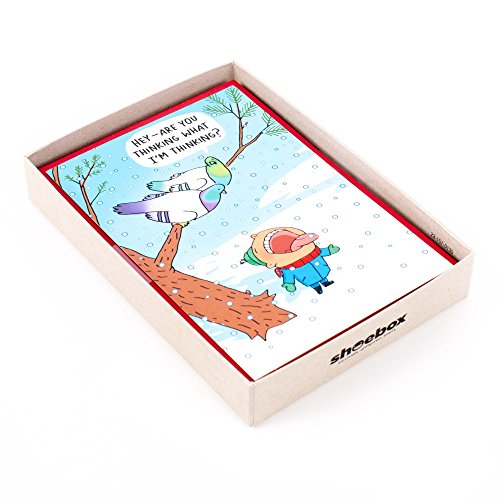 Hallmark Shoebox Funny Holiday Boxed Cards (Snowbirds, 16 Christmas Greeting Cards and 17 Envelopes)