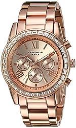 Akribos XXIV Women's Swiss Quartz Swarovski Crystal Bezel Rose-Tone Bracelet Watch AK943RG