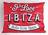 Lunarable Ibiza Pillow Sham, Spring Break Vacation Place Advertisement Design Hello from Spain, Decorative Standard Size Printed Pillowcase, 26 X 20 Inches, Dark Coral Blue and White