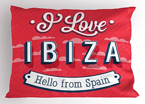 Lunarable Ibiza Pillow Sham, Spring Break Vacation Place Advertisement Design Hello from Spain, Decorative Standard Size Printed Pillowcase, 26 X 20 Inches, Dark Coral Blue and White by Lunarable