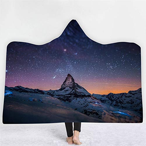 FimGGe Aurora Scene Hooded Wearable Blanket Planet Universe Thick Blanket Winter Sofa Bed Throw for Adults Kids Cobija -