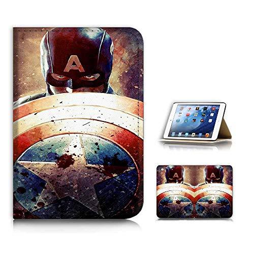 (for iPad Mini 1 2 3) Flip Case Cover & Screen Protector Bundle - A21714 Captain America (Ipad 2 Mini Captain America)