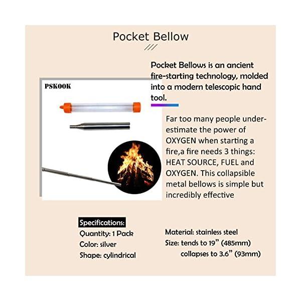 PSKOOK Kit Flint Steel Striker con Bolsillo Fuelle Primitivo Fire Starter Inglés Flint Stone Steel Striker 6