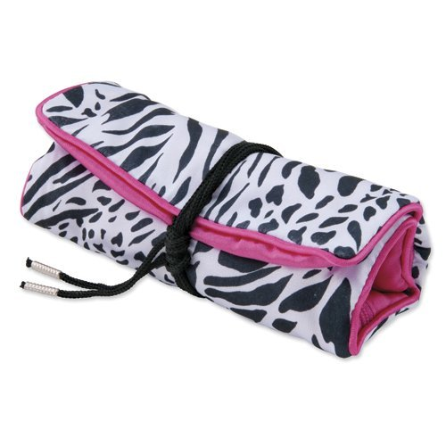 Amore La Vita Pack of 5, Zebra Print with Pink Trim Jewelry Roll by Amore La Vita