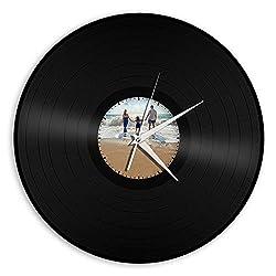 VinylShopUS Recycled Record Vinyl Wall Clock Family & Sea - Custom Print Available