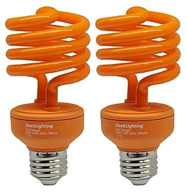 SleekLighting 23 Watt T2 Orange Light Spiral CFL Light Bulb, UL Approved-, E26 Medium Base-Energy Saver (Pack of 2)