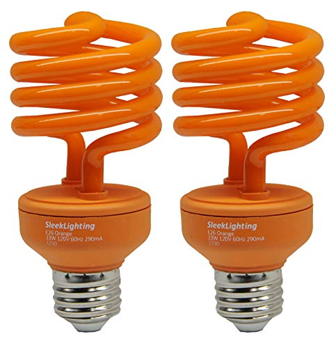 SleekLighting 23 Watt T2 Orange Light Spiral CFL Light Bulb, 120V, E26 Medium Base-Energy Saver (Pack of 2) -