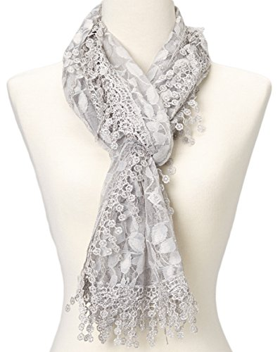 Cindy and Wendy Lightweight Soft Leaf Lace Fringes Scarf shawl for Women,Light Gray,One Size (Scarf Leaves Lace)