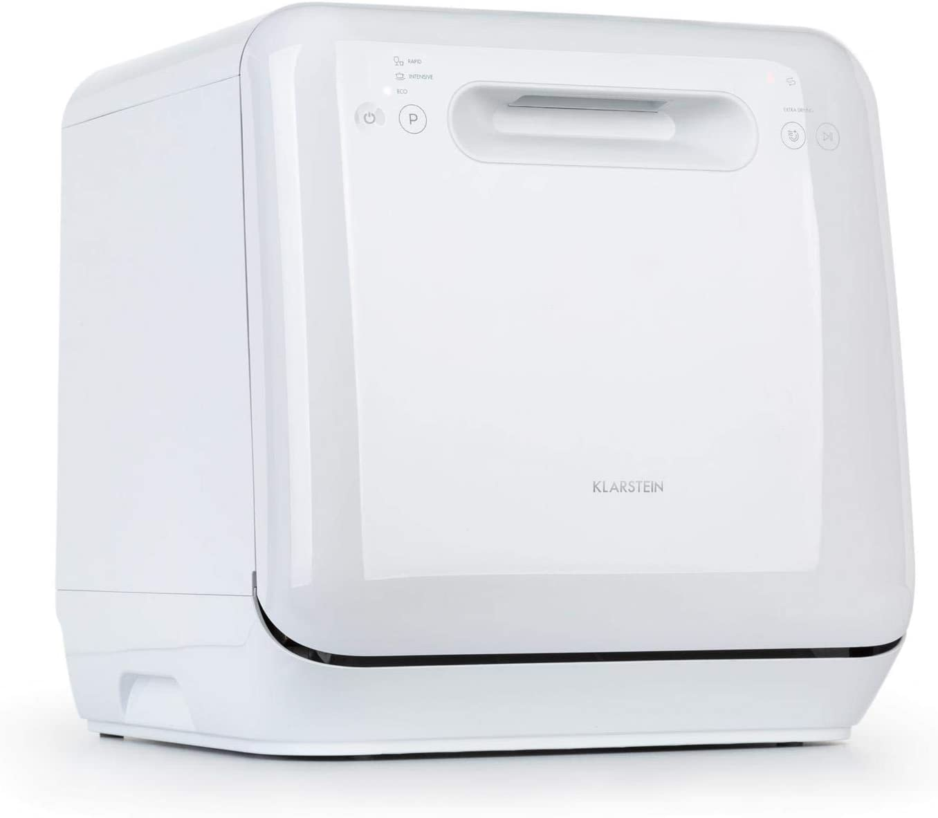 Klarstein Aquatica Mini Dishwasher Colour: White 2 Place Settings A Water Consumption: 5 litres 125 kWh//Year Touch Control 3 Programmes 360 /° Wash Installation-Free Freestanding
