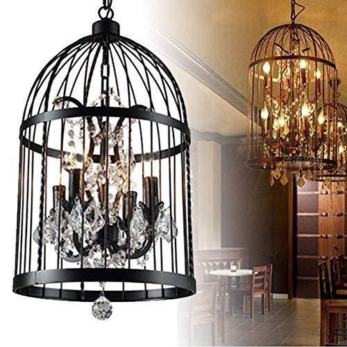 Crystal Pendant Light,ONEGOL 4 Lights Birds Cages Ceiling Chandeliers Fixtures Vintage Iron Birdcage Crystal Chandelier Light Lamp Restaurant Home Shop Decor Incandescent Lighting (Black) (Black)