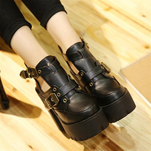 Shoe Toe Zip de Heel Splicing Pointe black Chunky Talons Bottes Tempérament Femmes Mid Bottes Cheville Sexy Up personnalité HETAO Chaussures Chic Élégantes pTwvPx