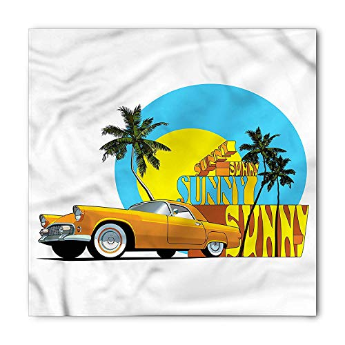 Retro Bandana, Vintage Car in City Miami, Unisex Head and Neck Tie