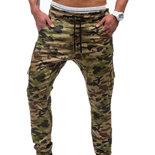 FASHIONMIA Men's New Elastic Tie Camo Trousers 6 (Youth Camouflage 6 Pocket Pants)