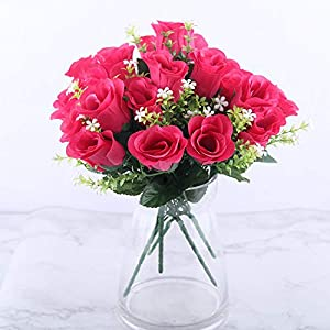 crystal004 5 Heads Artificial Rose Bouquet Silk Red Pink Royal Roses Fake Flower Garden Decor Indoor Decoration for Home Party A10034,Red 4