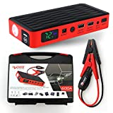 Image of HALF Minute Power 600A Peak 12V Portable Car Battery Jump Starter Emergency Booster Charger and Auto Bank Power Pack with a Gift Ec-5 Cigarette Lighter Socket (Black/Red)