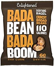 Enlightened Bada Bean Bada Boom Plant Protein Gluten Free Roasted Broad (Fava) Bean Snacks, Everything Bagel, 1 Ounce (24 Co