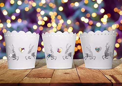 Christmas Tabletop Candles Holders -Set of 3 Round Metal Candleholders - Reindeer and Heart Cut-Out Design with a Votive Glass Holder Insert (Candle Rustic Reindeer Holder)