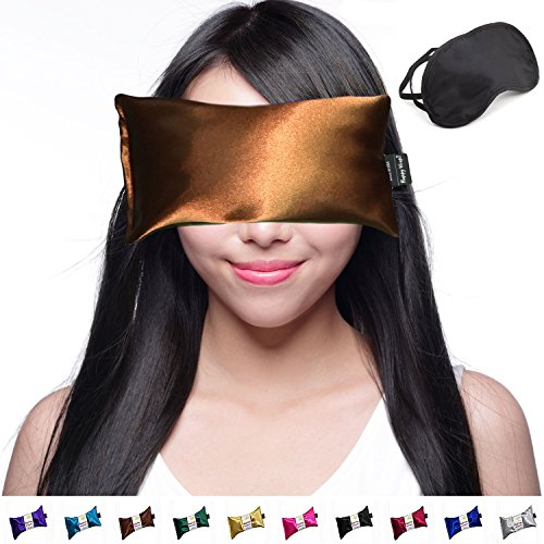 (Happy Wraps Lavender Eye Pillow Hot Cold Aromatherapy Weighted Eye Pillows for Sleeping Yoga Migraines Stress Relief Gifts for Women Men and Christmas Plus Free Eye Mask - Made in USA - Copper )